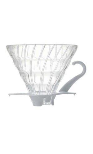 Hario V60 Coffee Dripper 02 – Glass, White (2 piece)