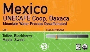 Decaf Mexico, UNECAFE Coop, Mountain Water Process