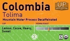 Decaf Colombia, Tolima – Mountain Water Process